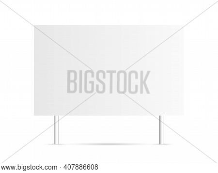 Sign Blank On White Backdrop. Isolated Board Mockup. Empty Billboard With Shadow. Signage Mockup For