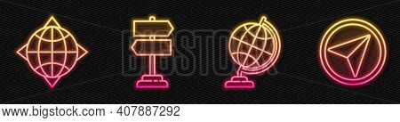 Set Line Earth Globe, World Globe With Compass, Road Traffic Sign And Infographic Of City Map Naviga