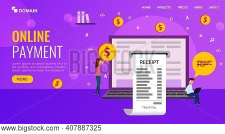 Landing Page. People Make Online Purchases And Receive An Electronic Receipt.