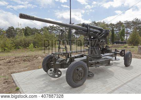 Sevastopol, Crimea, Russia - July 28, 2020: Anti-aircraft 85-mm Cannon 52-k Sample 1939 In The Memor