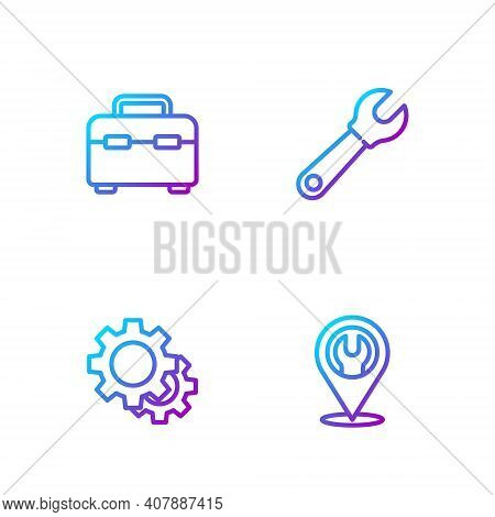 Set Line Location With Wrench Spanner, Gear, Toolbox And Wrench. Gradient Color Icons. Vector