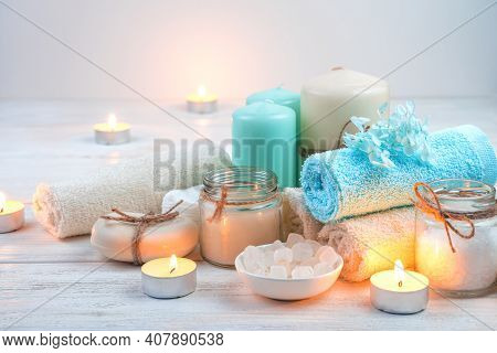 Beautiful Spa Set With Candles On A Light Background.