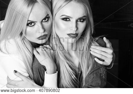 Fashion Woman And Girls. Fashion Photography. Girls In Black And White Studio