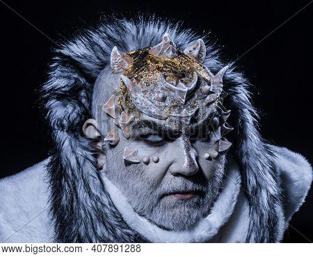 Devil With White Beard Dressed Like Monster. Alien, Demon, Sorcerer Makeup. Dark Arts Concept. Demon