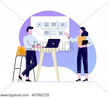 Presentation Work Schedule, Disscusing And Explain. Vector Corporate Discussion In Office, Illustrat