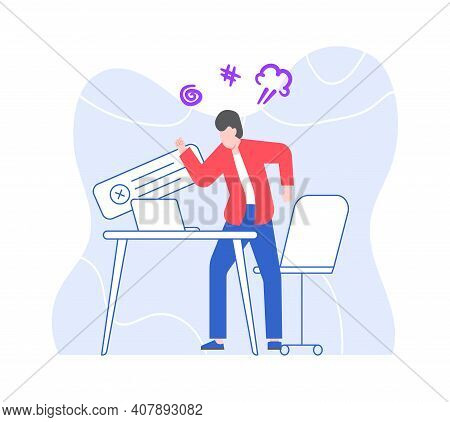 Angry Businessman On Workplace, Scream And Swear. Vector Businessman At Office And Computer Mistake,