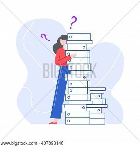 Puzzled And Pensive Woman With Stack Of Folders. Illustration Lady With Question, Problem Confused,