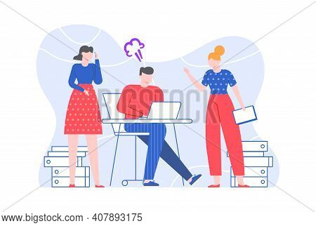 Office Worker Listens To Instructions And Get Angry. Office Employee And Manager Character, Instruct