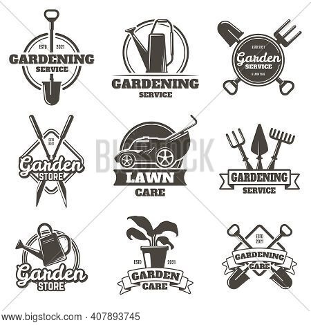 Gardening Emblems. Vintage Gardening, Lawn Care, Groundwork And Landscaping Badges. Garden Work Labe
