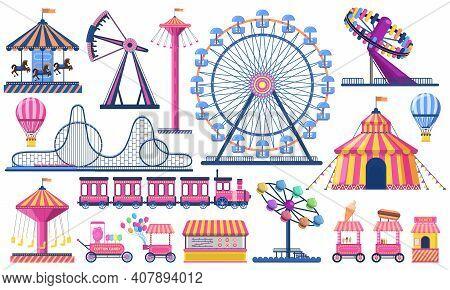 Amusement Park. Circus Festival Tent, Roller Coaster, Train, Ferris Wheel And Carnival Carousel. Kid