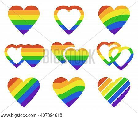 Lgbtq Rainbow Hearts. Pride Month Lgbtq Parade Heart Shape Flags, Transgender, Gay And Lesbian Commu
