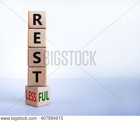 Restless Or Restful Symbol. Turned The Wooden Cube, Changed The Word 'restless' To 'restful'. Beauti