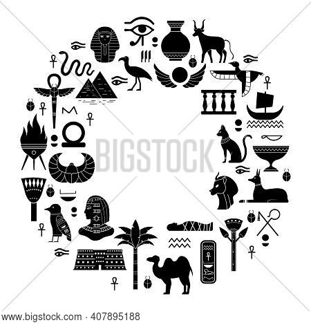 Egyptian Ancient Symbols. Mythology Egypt Sacred Animals, Gods And Pyramid Silhouettes. Ancient Egyp