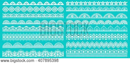 Vintage Lace Borders. Seamless Lace Borders For Wedding Decoration. Figured Retro Lace Pattern Eleme