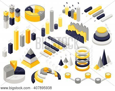 Isometric Infographic Charts. Infographic 3d Business Elements, Isometric Presentation Diagram Chart