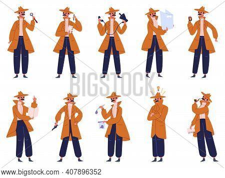 Private Investigator. Male Detective In Different Action Pose, Police Inspector Investigate Crime. D