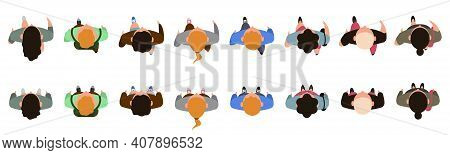 Top View People Characters. Men And Women Character Walking Animation, People View From Above. Male