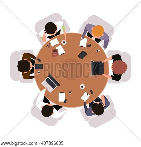 Business Meeting Top View. Office Workers Brainstorming Or Meeting At Round Table Isolated Vector Il