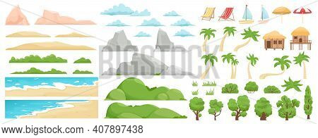 Beach Landscape Elements. Nature Beach, Clouds, Hills, Mountains, Trees And Palms. Outdoor Tropical
