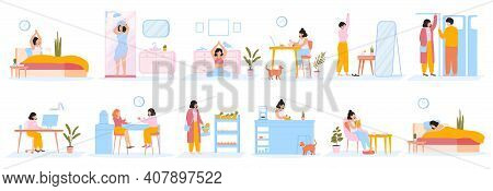 Daily Women Routine. Everyday Woman Work Leisure Activities, Female Daily Life. Girl Everyday Schedu