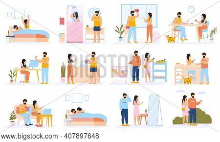 Couple Everyday Routine. Daily Leisure And Work Activities Of Young Couple, Happy Family Lifestyle.