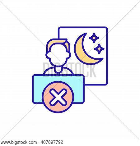 Sleep Problems Of Job Change Rgb Color Icon. Irregular Work Schedule. Telework On Night. Increased V