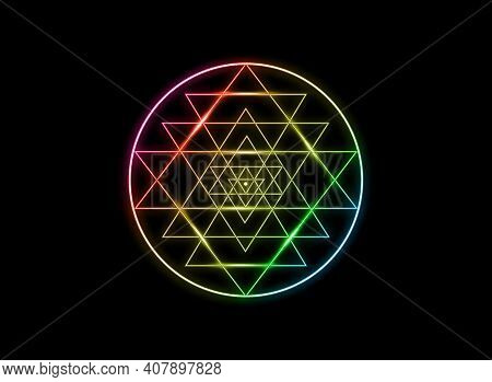 Sri Yantra, Sacred Geometry, Colors Of Chakras Symbol Of Hindu Tantra Formed By Nine Interlocking Tr