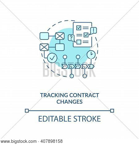 Tracking Contract Changes Concept Icon. Contract Management Software Functions. Contract Manager Ide