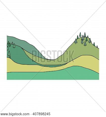 Hilly Landscape With Spruce Trees - Cartoony Vector Isolated