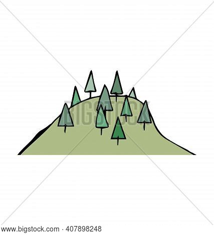 Hill With Spruce Trees - Cartoony Vector Isolated