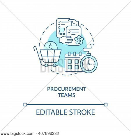 Procurement Teams Concept Icon. Contract Management Software Users. Provide Services To Project Cust