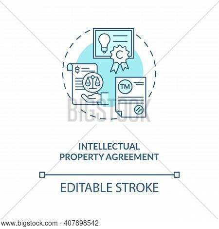 Intellectual Property Agreement Concept Icon. Common Commercial Contracts Types. Retain Ownership Of
