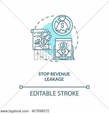 Stop Revenue Leakage Concept Icon. Contract Management Automation Benefits. Contract Management Proc