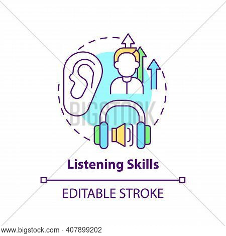 Listening Skills Concept Icon. Language Learning Competence Idea Thin Line Illustration. Accurately