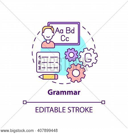 Grammar Concept Icon. Language Learning Category Idea Thin Line Illustration. Language Structure And