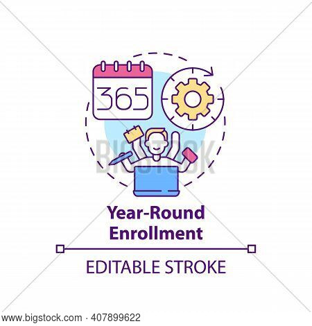 Year-round Enrollment Concept Icon. Online Language Courses Benefit Idea Thin Line Illustration. Red