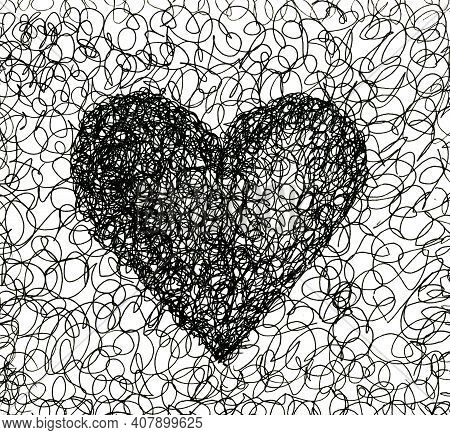 Ballpoint Pen Curl Heart. Graphic Black Heart. Chaotic Hand-drawn Doodles. Valentine's Day. Love Sym