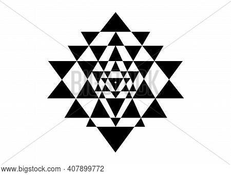 Sri Yantra, Sacred Geometry, Symbol Of Hindu Tantra Formed By Nine Interlocking Triangles That Radia