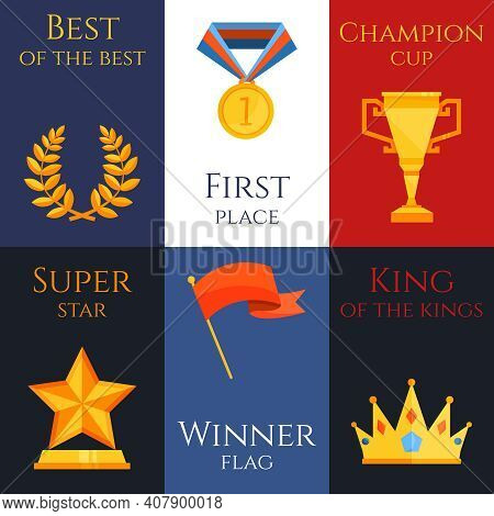 Award Best Of The Best First Place Champion Cup Super Star Winner Flag King Of The Kings Mini Poster