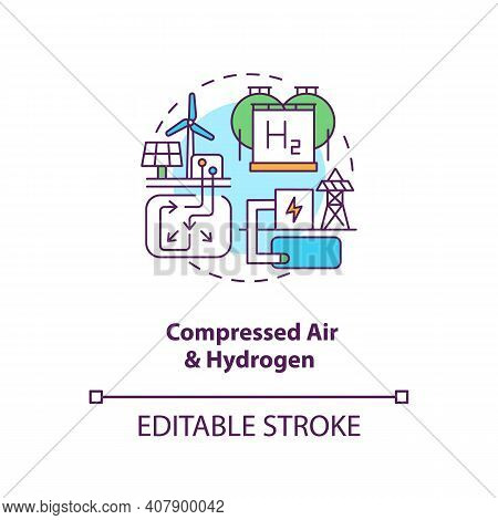 Compressed Air And Hydrogen Concept Icon. Generation Storage Technology Idea Thin Line Illustration.