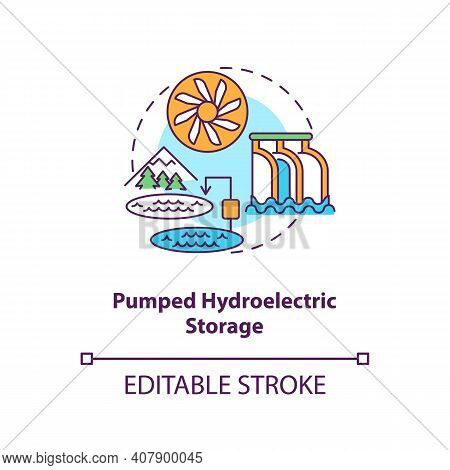 Pumped Hydroelectric Storage Concept Icon. Storing Energy Of Grid At Transmission Stage Idea Thin Li
