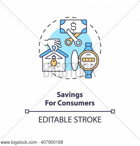 Savings For Consumers Concept Icon. Hydropower Remaining Cheap Of Electricity Idea Thin Line Illustr