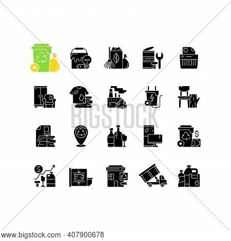 Waste Management Black Glyph Icons Set On White Space. Residential Waste Collection. Paper Shredding