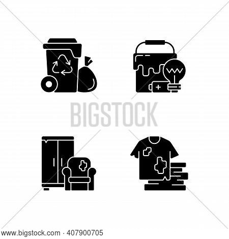 Garbage Disposal Black Glyph Icons Set On White Space. Residential Waste Collection. Solid Materials
