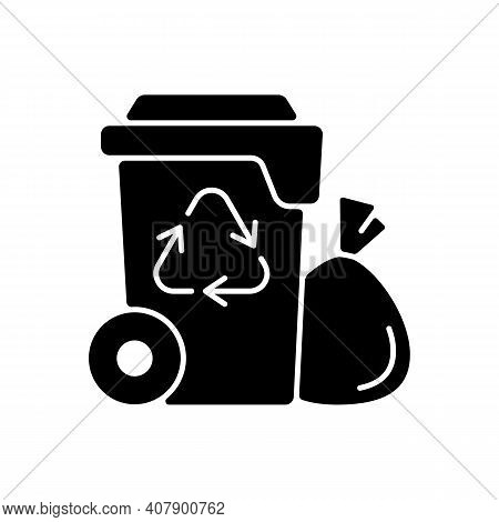 Residential Waste Collection Black Glyph Icon. Garbage Pickup From Home. Household Waste. Residentia