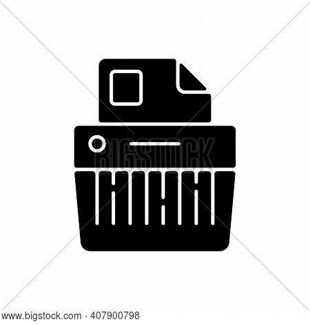 Paper Shredding Black Glyph Icon. Cutting Paper Into Either Strips, Fine Particles. Mechanical Devic
