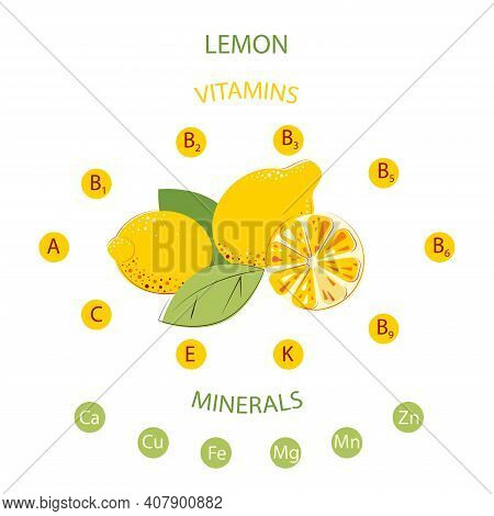 Lemons Contain Minerals And Vitamins. Vitamin Healthy Fruits. Composition Of Lemons With Green Leafs