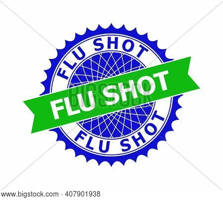 Vector Flu Shot Bicolor Template For Rubber Imitations With Clean Surface. Flat Clean Stamp With Flu