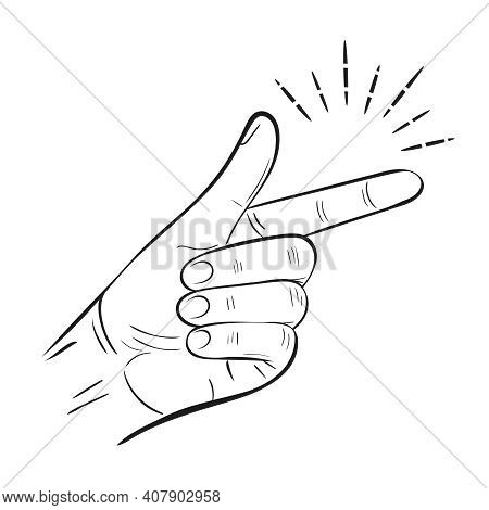 Hand Snap Fingers Flick Outline Icon. Snapping Gesture. Clicking Sound Signal. Magic Click. Attentio