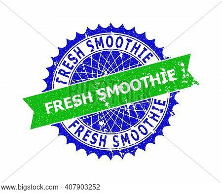 Vector Fresh Smoothie Bicolor Stamp Seal With Unclean Texture. Blue And Green Colors. Flat Seal Stam